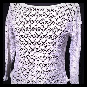 Tops - Crocheted white sweater